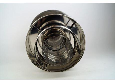 Concentrisch rookkanaal RVS, diameter Ø130-200, eindaansluiting met regenkap - 5246