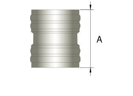 Flexibel dubbelwandig rookkanaal, verbindingsstuk FLEX-FLEX Ø80mm