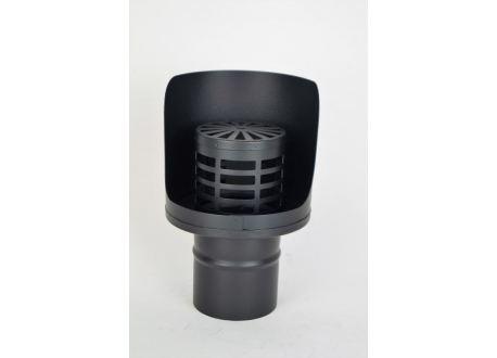 Pelletkachel rookkanaal zwart, horizontale wind- en regenkap, diameter Ø80 - 5640