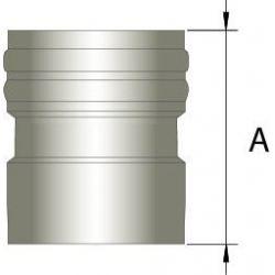 Flexibel RVS rookkanaal, verbindingsstuk FLEX-EW Ø130mm (mannelijk)