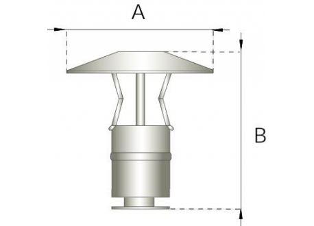 Enkelwandig rookkanaal RVS, trekkende regenkap, diameter Ø120 - 609