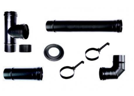 Compleet rookkanaal set voor pelletkachel 2 (eco) , zwart Ø80