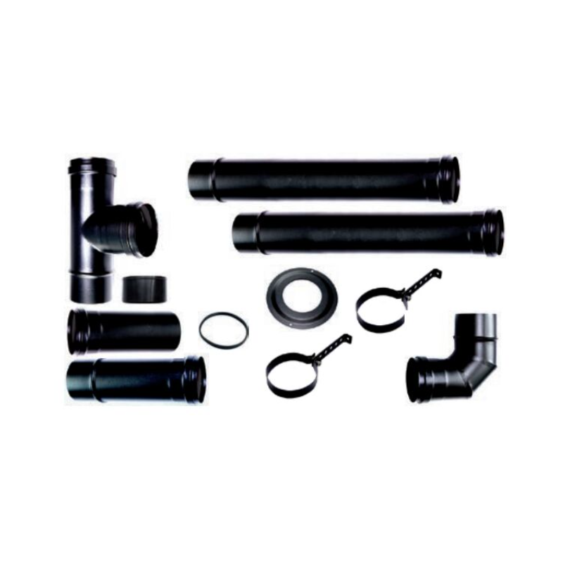 Compleet rookkanaal set voor pelletkachel 3 (lux) , zwart Ø80 - 6167