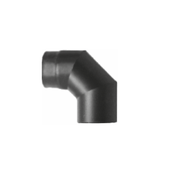 Kachelpijp zwart geëmailleerd staal, bocht 90° graden, diameter Ø120 - 6296