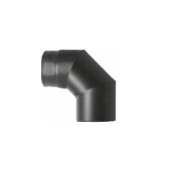 Kachelpijp zwart geëmailleerd staal, bocht 90° graden, diameter Ø140