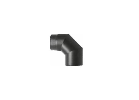 Kachelpijp zwart geëmailleerd staal, bocht 90° graden, diameter Ø150