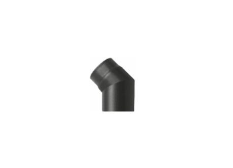 Kachelpijp zwart geëmailleerd staal, bocht 45° graden, diameter Ø120