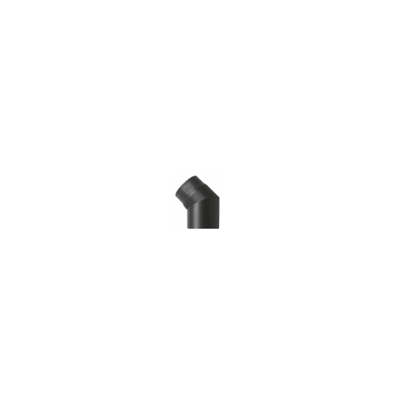 Kachelpijp zwart geëmailleerd staal, bocht 45° graden, diameter Ø130