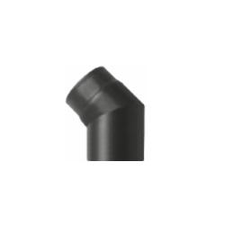 Kachelpijp zwart geëmailleerd staal, bocht 45° graden, diameter Ø140