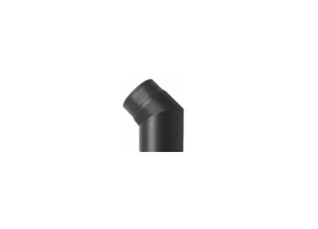 Kachelpijp zwart geëmailleerd staal, bocht 45° graden, diameter Ø150