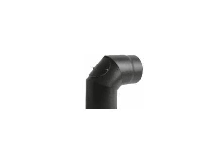 Kachelpijp zwart geëmailleerd staal, bocht 90° graden met inspectieluik, diameter Ø150