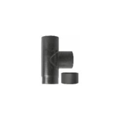 Kachelpijp zwart geëmailleerd staal, T-stuk met deksel, diameter Ø120