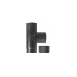 Kachelpijp zwart geëmailleerd staal, T-stuk met deksel, diameter Ø130 - 6326