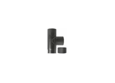 Kachelpijp zwart geëmailleerd staal, T-stuk met deksel, diameter Ø140