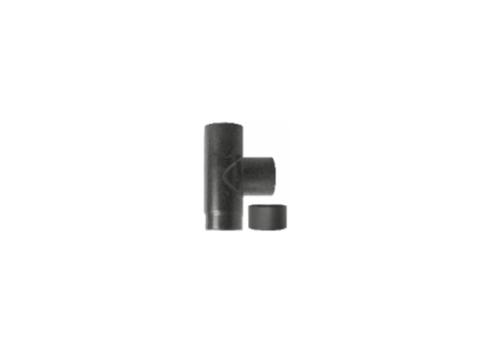 Kachelpijp zwart geëmailleerd staal, T-stuk met deksel, diameter Ø150
