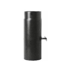 Kachelpijp zwart geëmailleerd staal met smoorklep, 250mm pijp, diameter Ø140