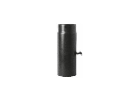 Kachelpijp zwart geëmailleerd staal met smoorklep, 250mm pijp, diameter Ø150
