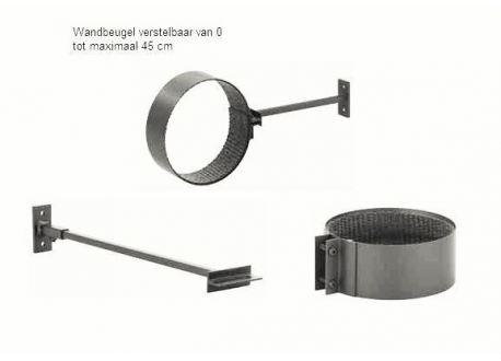 Kachelpijp Cortenstaal, diameter Ø150, Muurbeugel verstelbaar - 7250
