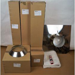Compleet rookkanaal set Ø100mm, plat/hellend bitumen dak - 8303