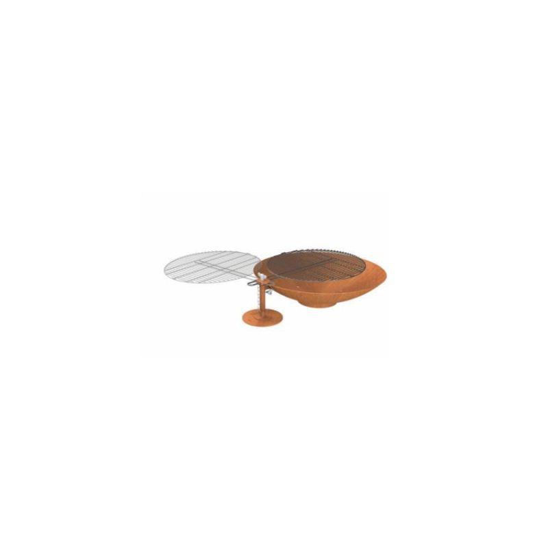 Vuurschaal CorTen staal (Burni) Ø80cm met BBQ rooster - 8663