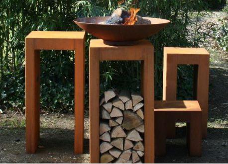 Vuurschaal CorTen staal (Burni) Ø80cm met BBQ rooster - 8664