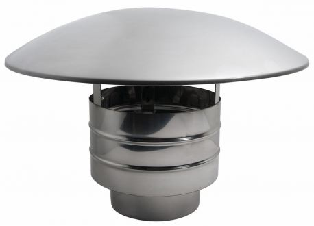 Enkelwandig rookkanaal RVS, trekkende regenkap, diameter Ø130 - 884