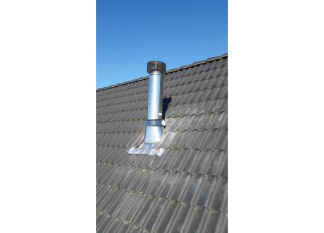 Dakdoorvoer (30-45°) met aluminium/loodslab en stormkraag Ø150mm