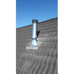 Dakdoorvoer (30-45°) met aluminiumslab en stormkraag Ø160mm - 9575