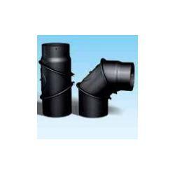 Kachelpijp dikwandig staal, diameter Ø120, bocht verstelbaar tot 90°, met inspectieluik - 9580