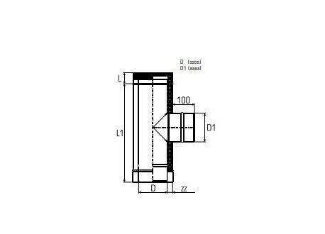 Dubbelwandig rookkanaal RVS, T-stuk 90°, Ø160/210 enkelwandige zijuitgang Ø100