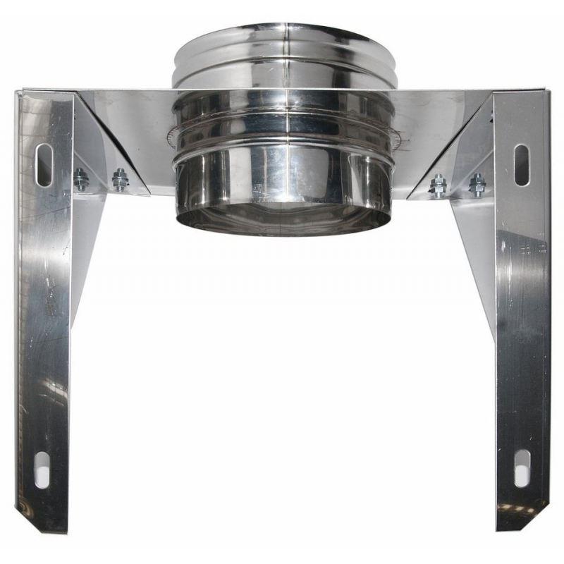 Enkelwandig rookkanaal RVS, stoelconstructie, diameter Ø120